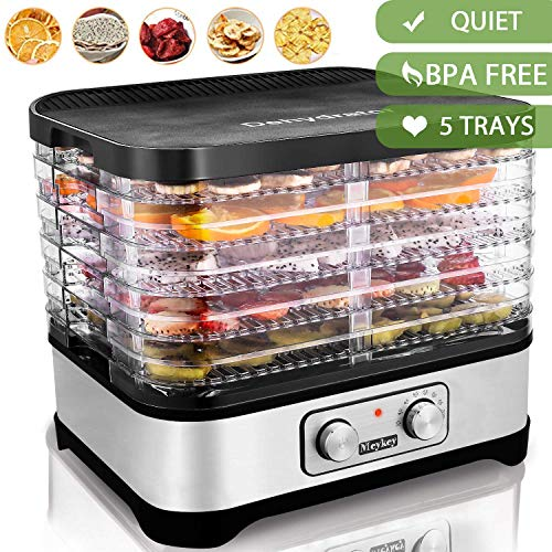 Food Dehydrator Machine, Electric Food Dryer Dehydrators for Jerky, Beef, Fruit, Vegetable, with Temperature Control, 5 BPA Free Trays, Knob Button