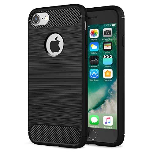 NEW C Funda para iPhone 7 8, (4.7 ), Funda Protectora con absorción de Impactos y Fibra de Carbono [Silicone Gel Flex]