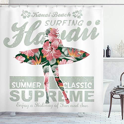 "Ambesonne Hawaiian Shower Curtain, Tropical Hawaii Hibiscus Surfing Girl Silhouette Surfboard Retro Themed Artprint, Cloth Fabric Bathroom Decor Set with Hooks, 70"" Long, Fuchsia Green"