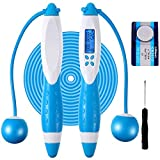 Electronic Counting Jump Rope, Adjustable Fitness Jumping Rope with Electronic Time Calorie Counter, Skipping Rope for Children Adult Women Indoor Outdoor Sports Weight Loss Exercise (Blue and White)