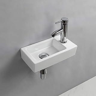 Lavabo rectangular de cerámica para colgar en la pared