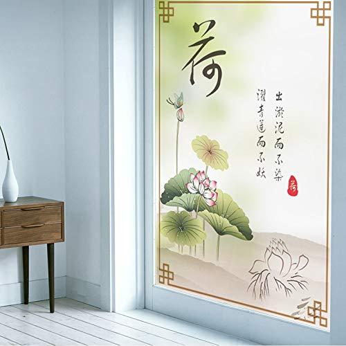 YSHUO raamstickers raamfolie op maat lijmvrij elektrostatisch glas badkamer scrub stickers balkon zonnebrandcrème Lotus