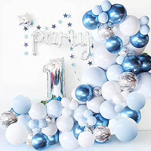 Blue Balloon Garland Arch Kit - 126 Pieces/PCS Metallic Blue White and Silver Confetti Latex Balloons for Baby Shower Birthday Wedding Graduation Bachelorette Anniversary Party Background Decorations