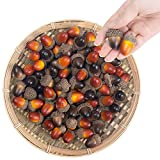BigOtters 100PCS Large Artificial Acorns, 1.5 X 0.8 Inches Mixed Color Fake Nutty with Natural Acorn Cap Simulation Fruit Props for Home Autumn Decor Craft DIY Wedding Festival Party Favor