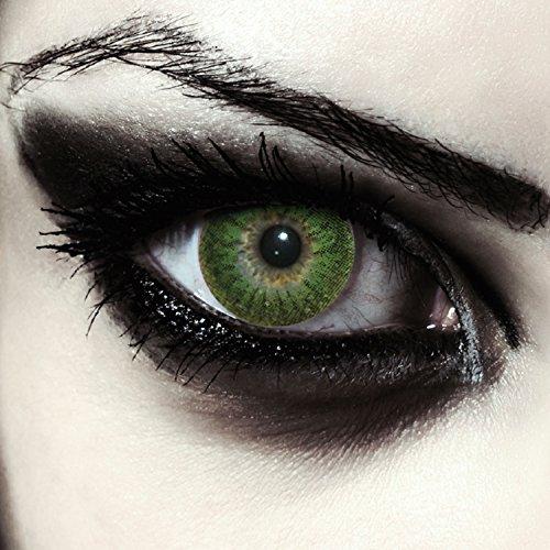 Grüne farbige Werwolf Kontaktlinsen ohne Stärke für Halloween Kostüm Farblinsen in grün Model: Green Werewolf + gratis Kontaktlinsenbehälter