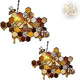 BLLOSSOMM 2 atrapasueños de Miel con protección de Abejas y Abejas, atrapasueños de Abejas, Adornos Hechos a Mano en Forma de Panal, decoración artística de abejorros