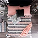 DreamPartyWorld Pink and Grey Blanket Light Queen/Full Girls Warm Striped Soft Teens Comforter Bedding