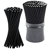 Tupa 200 Pieces Paper Straws Biodegradable Environment Friendly Black Disposable Drinking Straw Decorations for Wedding Supplies and Party Favors (200)