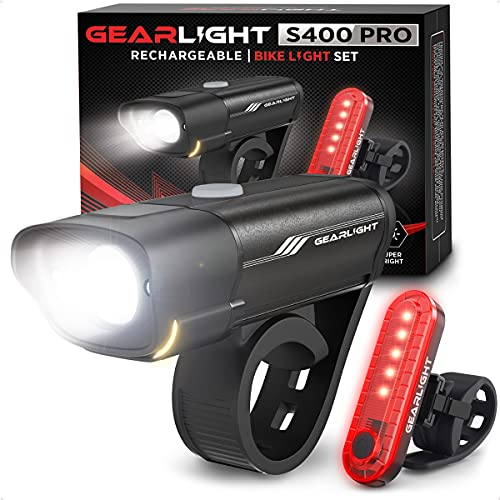GearLight Rechargeable Bike Light Set S400 - Reflectors Powerful Front and Back Lights, Bicycle Accessories for Night Riding, Cycling - Headlight Tail Rear for Kids, Road, Mountain Bikes