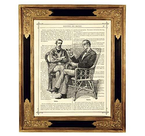 Sherlock Holmes Dr. John Watson Freundschaft Pfeife Druck Kunstdruck auf antiker Buchseite Geschenk Geburtstag Freunde Steampunk ungerahmt