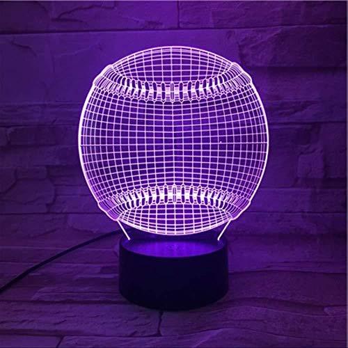 3D-led-nachtlampje voor tennis met 7 sensoren, kleur touchscreen, USB, werkt op batterijen, nachtlampje, cadeau voor vakantie voor kinderen