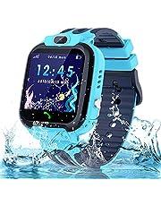 Smartwatch kinderhorloge waterdicht kindersmartwatch voor jongens en meisjes, smartwatch met telefoon SOS LBS tracker, spraakchat, verjaardagscadeau voor kinderen van 3-12 ans, blauw