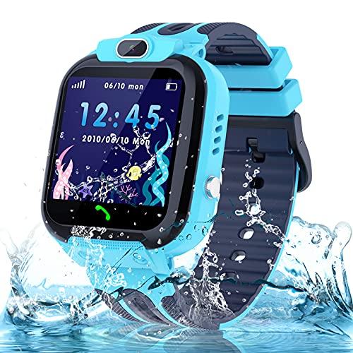 Montre GPS Enfant Tracker Étanche Montre Téléphone Enfant Connectée Garçons et Filles Smartwatch avec SOS Caméra Réveil Jeux, Cadeaux d'anniversaire pour Enfant 3-12ans, Blue