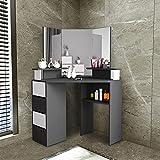 Jungaha Makeup Vanity Table with 3-Panel Mirror Wood Make Up Vanity Dressing Table with Shelves 4 Storage Drawers Corner Dresser Desk Dressing Furniture for Bedroom Bathroom (1 Black)
