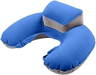Almohada inflable portátil para el cuello en forma de U para soplar el cojín del cuello del PVC Flocado