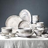 LanGuShi PANZI227 30 Pezzi Ceramica Ceramica Set Ciotola/Piatto/Cucchiaio   3D Barocco in Rilievo Texture stoviglie Set Combinazione di Porcellana Tono Blu-Grigio .Regalo