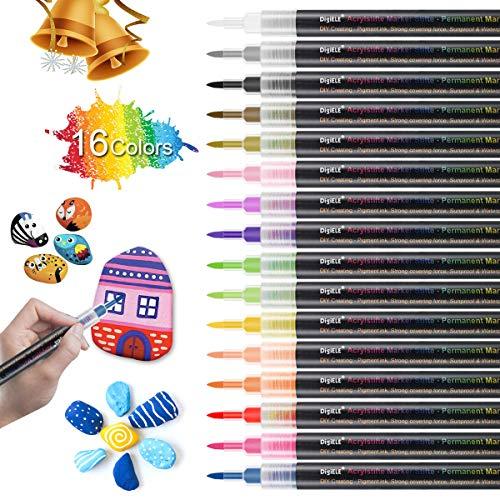 Rotuladores de Pintura Acrílico 16 Colores, DIGIELE 0.7-1mm Punta Fina Permanente Marcadores...