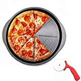 CPENSUS Pizza Pans with Holes for Oven 35 cm - Professional Set for Restaurant Type Pizza at Home Grill Barbecue with Cutter.