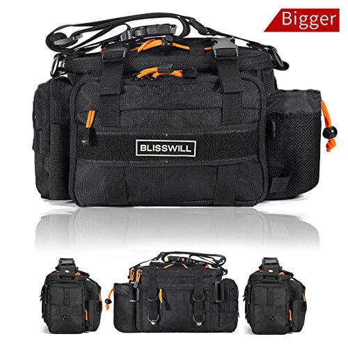 BLISSWILL Fishing Tackle Bags Waist Fishing Bag Water-Resistant Fishing Gear Storage Bag Fly Fishing Bag Durable Handbag Bags for Fishing (Black Larger)
