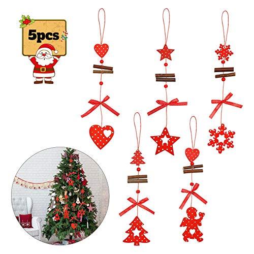 BELIOF 5 pcs Colgante Navideño de Madera para Decorar Árbol de Navidad Adornos Colgantes Navidad de Madera para Colgar en la Ventana de Forma de Nieve Ángel Estrella Árbol Navideño Corazón
