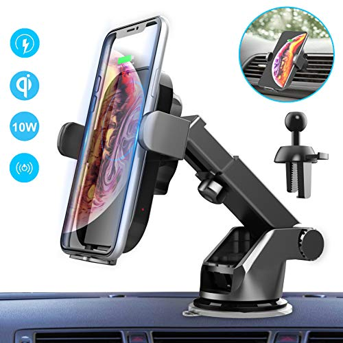 ElekBest Wireless Car Charger, 10W/7.5W Fast Charging Auto-Clamping Car Mount 360° Rotation, Windshield Dashboard Air Vent Phone Holder Compatible with iPhone 8+, Galaxy
