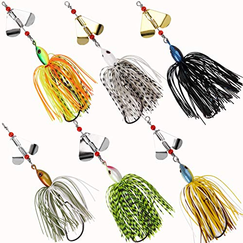 JSHANMEI Fishing Buzzbait Spinnerbait Lures Buzzer Spinner Blades Metal Jigs Lure Artificial Fishing Lures for Bass Pike Trout (6PCS)