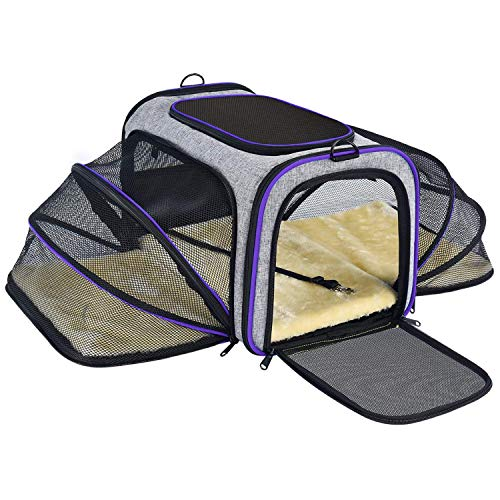 OMORC Cat Carrier, Dual-Sided Expandable Pet Carrier Dog Carrier with Dual Side Inner Pad and Breathable Mesh, Portable Pet Travel Bag Spacious & Stable, Foldable for Easy Storage, Cat/Puppy- Purple