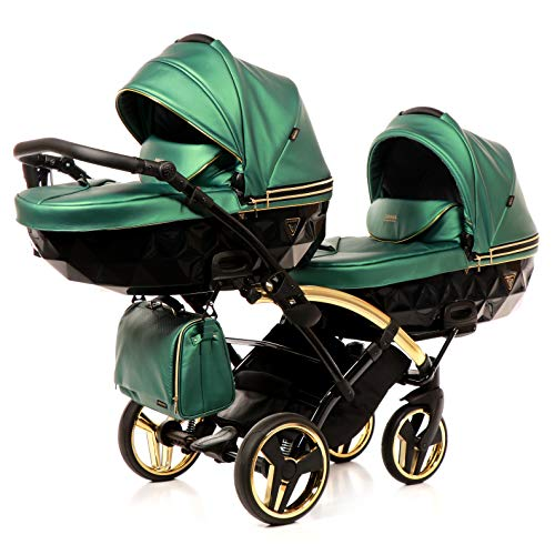 Junama Duo Slim Kinderwagen Zwillingswagen Geschwisterwagen by Lux4kids Green Fluo Line Slim 02 2in1 ohne Babyschale