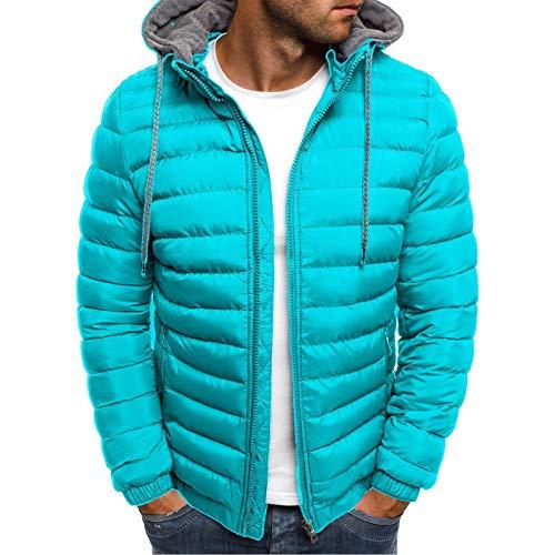 Winter Down Cotton Jacket Men's Loose Padded Jacket Men's European Size Hooded Thick Padded Jacket Lake Blue