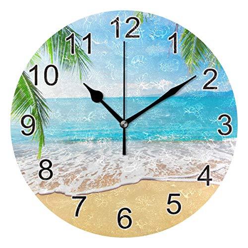 Reloj de pared silencioso,reloj de cocina,Relojes de Cuarzo silencioso Que no Hace tictac,para sala de estar,dormitorios,(Diámetro: 25 cm),Pared de la casa junto al mar de verano Palmera tropical