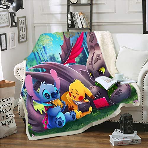 Goplnma-Disney Stitch Decke,Lilo Und Stitch Kuscheldecke Flanelldecke Für KinderundErwachsene, Tagesdecke Sofadecken,3D-Druck (130 * 150,23)