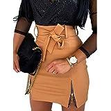 Kosusanill Women's Basic High Waist Faux Leather Bodycon Mini Pencil Skirt PU Zipper Short Skinny A-Line Skirts (Brown Cut, Small)