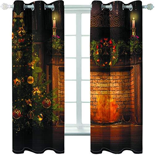 MMHJS Serie De Impresión Navideña Cortinas 3D Impermeable Aislamiento Térmico Cortina Cálida Artículos para El Hogar Dormitorio Y Sala De Estar Sombrilla Cortina Vertical (2 Piezas)