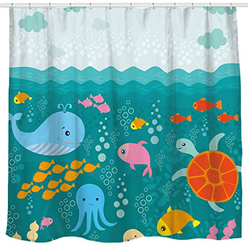 Sunlit Designer Lovely Pink Flowers Cute Smiling Unicorn Fabric Shower Curtain for Kids and Girls Bathroom Decoration