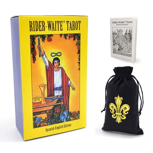 Rider Waite Tarot Cards Deck Edición en español en inglés con guía impresa en español e instrucción electrónica en inglés, herramienta de adivinación de adivinación