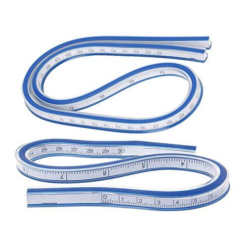 yyuezhi Regla Curva azul Herramienta de Medición de Regla Regla de Curva Flexible Herramienta de Dibujo de Dibujo de Regla de Curva Flexible Regla Curva de Alta Calidad 2 Piezas(30cm+60cm)