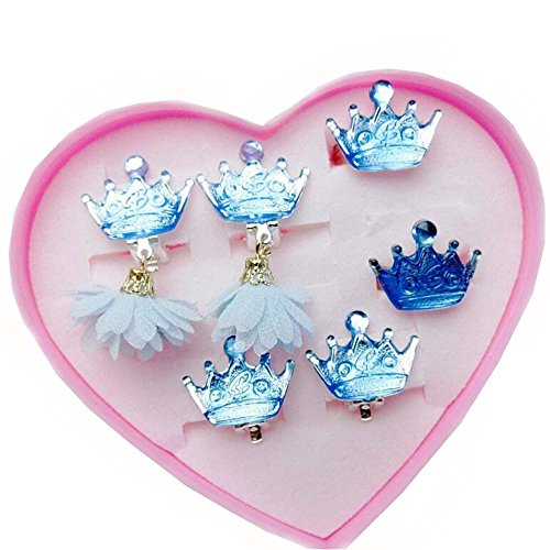 Black Temptation Blue Crystal Crown Series Kinder Ring und Ohrring verstellbaren Schmuck mit rosa Schmuckkästchen