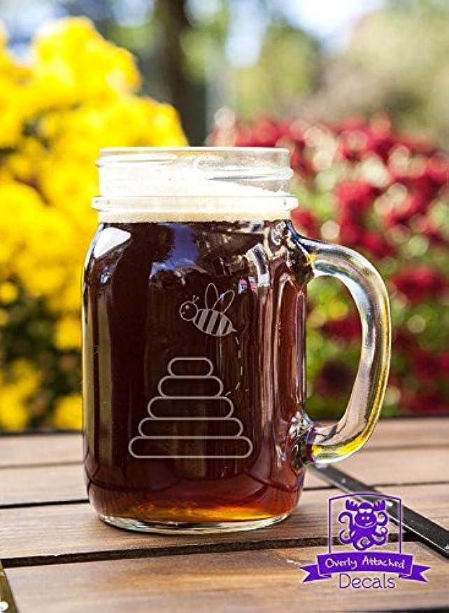 複数でるテメリティBumble Bees andハイブEtched Glassware Mason Handled Jar Beer Mugギフト