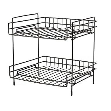 NEUN WELTEN Deep 2 Tier Kitchen Helper Shelf Rack with Large Storage Space 10  L x 11  W x 11.4  H (Black)