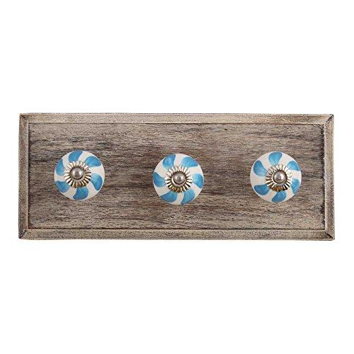 Indianshelf - Perchas de madera para sombreros y abrigos (hecho a mano, 1 unidad, color azul, estilo vintage, para decoración del hogar en línea)