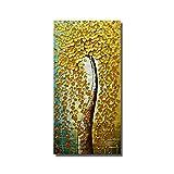 WZYYHH 100% Handgemaltes Ölgemälde Golden Flower Tree Home Schmückt Bilder