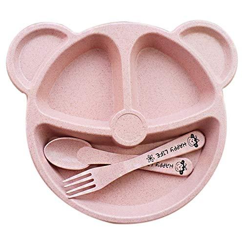Nrpfell Baby schale + L?ffel + Gabel Fütterung Lebensmittel Geschirr Cartoon Panda Kinder Gerichte Baby Essen Geschirr Set Anti-hei?e Trainingsschale L?ffel rosa