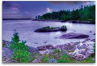 CALVENDO Lienzo de Tela prémium 120 cm x 80 cm Horizontal, Sehnsucht Suecia – Gran Lago de Suecia – El Vänern en la Luna Imagen de Pared, Imagen en Bastidor. Calendario Sehnsucht de Suecia Lugares