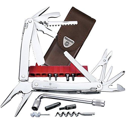 Victorinox Swiss Tool Spirit XC Plus, 35 Funktionen, Klinge mit Wellenschliff, Metallsäge, Leder Etui, silber
