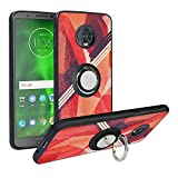 Alapmk Compatible with Moto G6 Case,[Pattern Design] with Kickstand Fit Magnetic Car Mount, Shock Absorption Protective Case Cover for Motorola Moto G6,Rose Red
