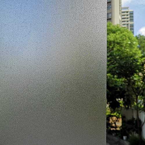 TOTIO Películas de privacidad para ventana estática, no adhesivas, color blanco mate – Películas de vidrio esmerilado antiUV estáticas de vidrio opaco para oficina, hogar, baño o cristal