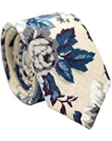 Belluno Men's Cotton Skinny Ties, Print Floral Ties for Weddings, Groomsmen, Missions, Dances, Gift Box Beige Blue Tie