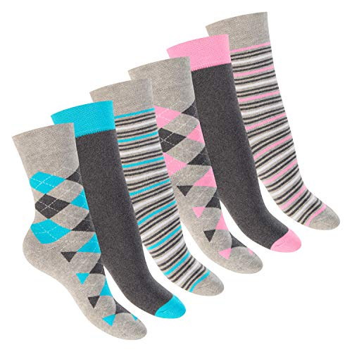 Footstar Damen Wintersocken (6 Paar), Warme Vollfrottee Socken mit Thermo Effekt - Kariert 35-38