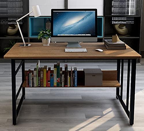 Escritorio de la computadora de la oficina en casa Escritorio del estudio del estudiante con estante de almacenamiento Industrial moderno Mesa para portátil para espacio pequeño 39,4 pulgadas,Marrón