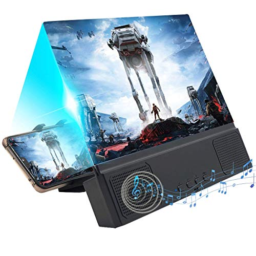 【Updated】 12'' 3D Screen Magnifier with Bluetooth Speaker, HD Protable Movies Amplifier with Foldable Holder Stand, Support iPhone Xs Max/Xr/X/8 Plus and Android All Smartphones